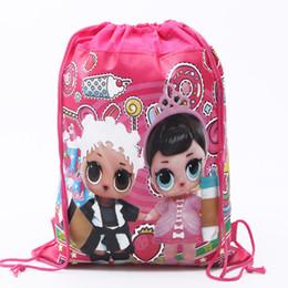 Doppelter taschenrucksack online-Überraschung Mädchen Kinder Kordelzug Vliesstoffe Rucksack Cartoon Doppelseite Tasche Baby Lagerung Schultasche Kinder Snack Taschen
