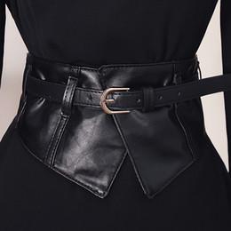 peplum de couro sintético Desconto Moda Feminina Peplum Ampla Pu Cintos Elásticos Fino Espartilho Preto Faux Vestido De Couro Cinto Cinto De Cinturão Cummerbund Pin Fivela Cintos Y19070503