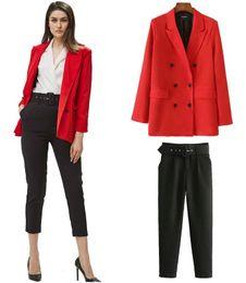 Escritório de calças roxas on-line-Calças escritório senhoras terno preto calças mulher de cintura alta calças Sashes Pockets Oriente Moda Aged Roxo Calças caqui Tamanho XS S M L