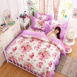 Ropa de cama princesa moderna online-Juego de ropa de cama de lujo de Lacework Rainbow Princess 4 UNIDS Moderno Floral Queen King Size Bed Duvet Cover Sheet Almohada sin relleno