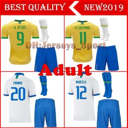 yellow football socks Coupons - 2019 Brazil home Adult kit Soccer Jersey 19 20 Brazil yellow FIRMINO MARCELO G.JESUS P.COUTINHO football shirts+Shorts socks