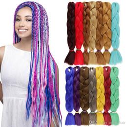 Meilleures extensions de cheveux de tressage en Ligne-Soild Color Kanekalon Synthétique Tressage Extensions de Cheveux Crochet Box Tresses 100g 24 pouces Xpression Tressage Cheveux Meilleurs cheveux pour Box Tresses