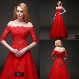 Canada Attractive-en gros une ligne rouge appliques de dentelle perlée robe de bal sans bretelles avec jacktes modeste vintage soirée soirée de bal robes vente chaude Offre
