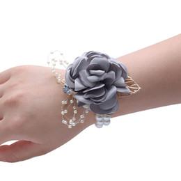 Fontes de Casamento elegante Espartilhos de Dança Bela Mão Decoração Pérola Pulso Flor Artificial Moda Pulseira Pano De Noiva de