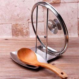 Porta cuchara cuchara online-Cuchara de sopa Rack Pan de acero inoxidable Cubierta de la olla Tapa Rack Cuchara Holder Estufa Organizador Almacenamiento Accesorios de cocina