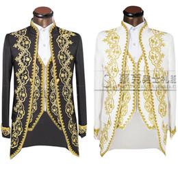 Smoking smoking marié en Ligne-(Veste + pantalon + gilet) Or 2018 Mode Hommes costumes Slim Fit Tailcoat Groom mariage Prom Dress Costume Brodé Homme Pour Tuxedo