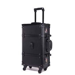 Tronco di viaggio d'epoca online-BeaSumore Retro Rolling Luggage Spinner Trolley girevole in pelle vintage Trolley da viaggio per donna Borsa da viaggio per uomo