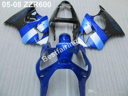 Wholesale Nuevo kit de carenado del moldeo por inyección en caliente para Kawasaki ZZR600 carenados azul negro conjunto ZZR ZV36