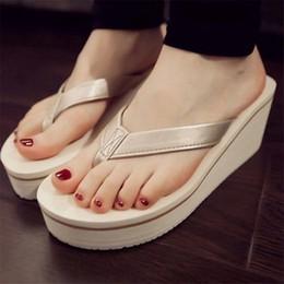 Koreanische muffinschuhe online-Damen Schuhe Sommer Sexy Flip Flops Frauen Sandalen Böhmischen Muffin Slope Mit Sandalen Korean Style Slipper Für Frauen Mädchen