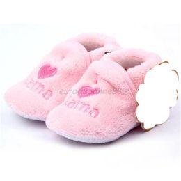 тапочки коралловый флис Скидка Baby First Walker Girl Boy Coral Fleece Booties Socks Shoes Slippers Born Toddler 0-12M