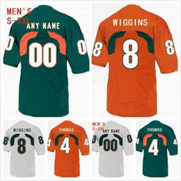 1b7203d88f7 Custom Miami Hurricanes Jeff Thomas Jersey 4 Dee Wiggins 8 Will Mallory 85  Cam Ron Davis 23 Darrell Langham 81 Mens 2019 Stitched S-3XL