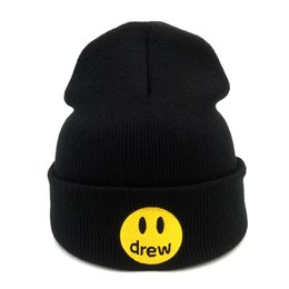 punto negro sombrero estrella roja Rebajas Gorros Casual Justin Bieber dibujó la casa de algodón para mujeres de los hombres de punto sombrero de invierno de color sólido de Hip-hop Skullies Cap sombrero unisex