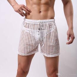 Men Sexy Grid Fishnet Transparent Shorts Fashion 2017 Loose Lounge Pants  Sleep Bottoms See Through Pajama Pants efbea427f