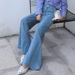 481433f11ed68 2019 New Fashion Spring Korean Female Pants Vintage Big Wide Leg Denim Pants  High Waist Full-Length Loose Jeans Trousers Blue