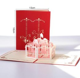 Tarjetas de amante online-3D pop-up hecho a mano con corte láser tarjetas vintage Bicicleta vintage regalos creativos postal tarjetas de felicitación de cumpleaños para amantes