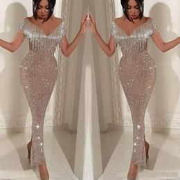 Robes de soiree en Ligne-2019 brillantes paillettes sirène robes de bal élégante épaule gland robes de soirée trompette longueur de cheville Split cocktail robes de soirée