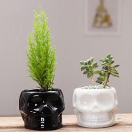 ollas de cráneo Rebajas Cráneo blanco negro de cerámica Macetas creativo suculento de plantador de la flor Diseño ecológico Pot jardín de la flor Pot SH190926