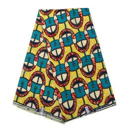 2019 robes en dentelle vert citron Ankara Africaine Polyester Cire Prints Tissu 2019 Binta Cire Réelle De Haute Qualité 6 verges Tissu Africain pour Robe de soirée pl598