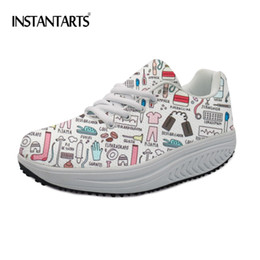 96482f77335f platform cartoon shoes Promo Codes - INSTANTARTS Casual Platform Flats  Shoes Women Cartoon Nurse Printing Ladies