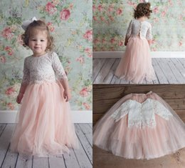 beautiful blue flowers Promo Codes - 2019 Pink Two Pieces Lace Ball Gown Flower Girl Dresses 3 4 Long Sleeve Vintage Child Pageant Dresses Beautiful Flower Girl Wedding Dresses