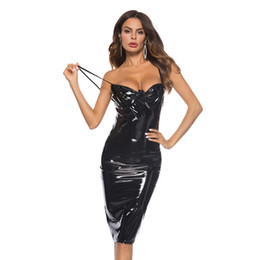 Poco uso online-Little Black Latex Bodycon Vestidos Sexy Spaghetti Straps Night Club Use Steampunk Backless Tight Runway Vestidos