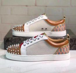 2019 amantes net Desenhador de moda Spikes Net furo Flats sapatos Vermelho Inferior Sapatos Para As Mulheres Mens amantes Da Festa de Luxo Sapatilhas de Couro Genuíno tamanho: 35-47 amantes net barato