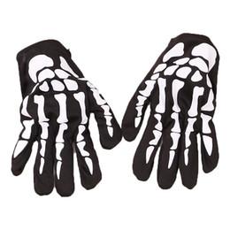 skelett knochen druck Rabatt 4 Farben Halloween skeleton handschuhe 22 cm Unisex Schädel Knochen Gedruckt Kurze Handschuhe Kinder Cosplay Requisiten kinder Fingerhandschuhe M255