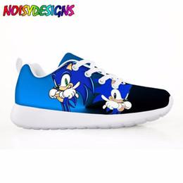 Luz hedgehog on-line-Estilo dos desenhos animados Meninas Sapatilhas Casuais Apartamentos Pretty Sonic the Hedgehog Confortável Crianças Sapatos para Criança Estudante de Peso Leve