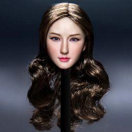 цвет волос для азиат Скидка Коллекционирование женская голова резьба 1/6 кокетливая девушка азиатской красоты посажены волосы 12