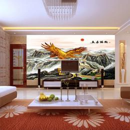 3D stereo grande murale TV sfondo carta da parati Cina Grande con l'aquila Soggiorno parete Camera da letto mostra grande piano carta da parati in stile cinese da porcellana live tv fornitori