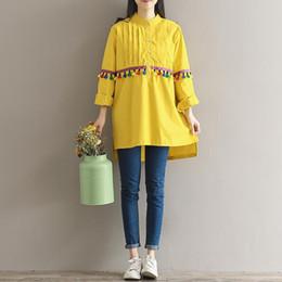 Argentina Autumn Spring Tassel Vestido vintage para mujer Lapel Neck Vestido de talla grande Color amarillo Tamaño M-2XL Suministro