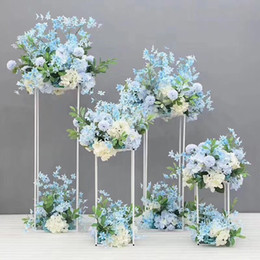 wedding centerpieces candles flowers Coupons - 4PCS Floor Vases Flowers Vase Column Stand Metal Pillar Road Lead Wedding Centerpieces Rack Event Party Christmas Decoration
