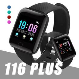 rastreador de fitness teléfono compatible con windows Rebajas Fitness Tracker ID116 PLUS Pulsera inteligente con frecuencia cardíaca Banda de reloj inteligente Pulsera de presión arterial para teléfonos Android IOS con caja