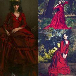 Viktorianisches kleid plus online-Vintage New Mina Dracula Victorian Bustle Anlass Promkleider Halloween Gothic Rüschen Zug plus Größe formales Taft Abendkleid