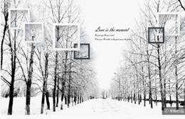 neve floresta papel de parede para paredes 3 d para sala de estar sentimentos preto e branco madeiras estrada arte fundo pintura de parede de