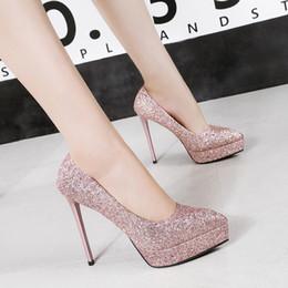 Pulverpumpen online-Glänzende Pulver Hochzeit Schuhe Tanzparty Günstige Ponted Toe Marke Schuhe Sloe Frauen Pumps High Heel Schuhe Stöckel Absatz Kostenloser Versand