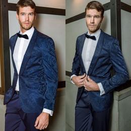2019 мужчины пальто обеда Royal Blue Мужские костюмы Пиджаки Пальто Печатный бренд Цветочный человек Формальный ужин Костюмы Пиджаки Пейсли Куртка на заказ Цельный дешево мужчины пальто обеда