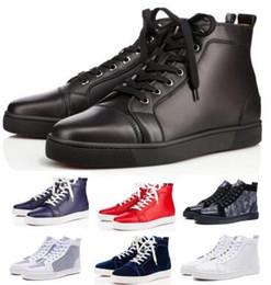 Scarpe da festa piatta online-2019 Red Bottom Designers Scarpe casual Sneakers Nero Orlato Flats High Top Party Lovers Donna Ace Genuine Leather Mens Womens Scarpe nuove