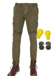 Loong Biker moto 114-20 i jeans di guida Moto sport pantaloni casuali allentati di protezione per il tempo libero dritto pantaloni locomotiva verde militare da ginocchiere in nylon fornitori