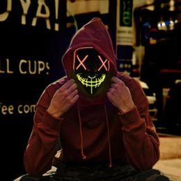 máscaras roxas para bola de máscaras Desconto Halloween Máscara Máscaras LED Light Up Partido Purge Cosplay ano eleitoral Máscaras Grande traje engraçado Festival Suprimentos Brilho In Dark SH190923