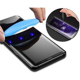 Samsung s6 curva online-UV NANO Óptica Líquido Cubierta completa Pegamento 3D Cristal templado protector de pantalla para Samsung Galaxy S6 S7 S7 S9 Plus S10 Plus S10e Note 8 9