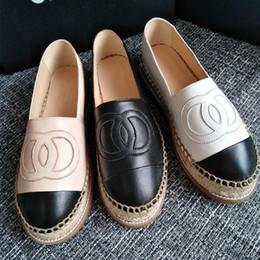 Nouvelle mode toile et cuir d'agneau véritable femmes Espadrilles Chaussures plates Mocassins d'été Espadrilles Taille EUR34-42 Beaucoup de couleurs avec la boîte ? partir de fabricateur