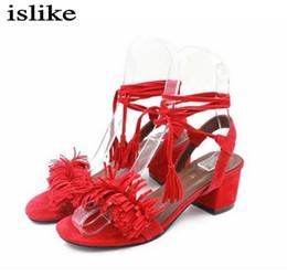 sandali gladiatori rossi per le donne Sconti Sandali Tassel Block Tacchi alti Sandali gladiatore Red Ladies Scarpe estive Donna Party Scarpe Sandalias Zapatos Mujer