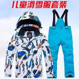 giacca di usura invernale dei ragazzi Sconti Ragazze Inverno capispalla bambini ragazzi Tuta da sci Abbigliamento super caldo Sci Snowboard Jacket + Pants Suit antivento impermeabile Winter Wear