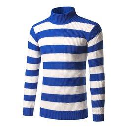 camicie uomo a turtleneck Sconti Mens camicia di modo maglione casuale dolcevita Mens manica lunga Pullover contrasto a righe Stampa design Maglione M-3XL