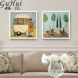 coppie dipingono le immagini Sconti Pittura cane anziano biciclette Retro olio astratto americano Tela poster Loving Couples Immagini parete del soggiorno della camera da letto