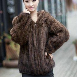 punto abrigos de piel de visón mujeres Rebajas envío libre de la chaqueta de punto real Abrigos Moda de manga larga Design invierno de la piel Mujer con la capa de la capilla de visón
