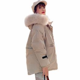 Mantel mit Kapuze Winterjacke Frauen Parkas 2019 Neue Frauen Jacke Pelzkragen Oberbekleidung Weibliche Mäntel von Fabrikanten