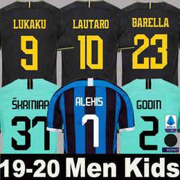 2020 kit de niños inter milan 19 20 21 LUKAKU ALEXIS Camiseta de fútbol Inter Milan Milán 2019 2020 LAUTARO SKRINIAR BARELLA POLITANO Tercer equipo de portero de fútbol visitante Hombre Niños conjunto uniforme rebajas kit de niños inter milan