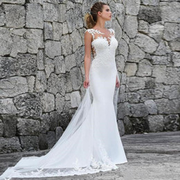 2019 abiti da sposa arredati scollatura pura 2019 Pizzo Mermaid Bohemian Wedding Dresses Satin Lace Applique Sweep Train Beach Boho Wedding Abiti da sposa